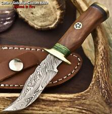 Handmade Damascus Steel Blade Miniature Knife   Walnut Wood