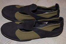 Arche Relax Flat Shoe In Black Leather/Khaki Stretch UK 2