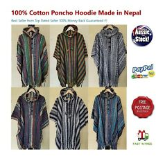UniSex Nepal Mexican Cotton Poncho Cotton Baja Hippy Boho Hunting Surf wear