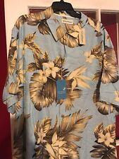 NWT 2xb  Caribbean Blue  Pure Silk Floral Shirt $89