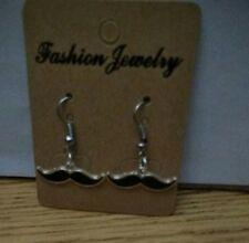 Black Mustache Charm Dangle Earrings - Free Shipping in US - D