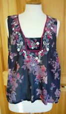 MONSOON size L navy blue embroidered 100% cotton sleeveless vest top