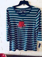 New Karen Scott Woman's  Striped Knit Top Apple & Floral   Plus Size  Blue   V70