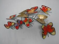 SIGNED CURTIS JERE COLORFUL METAL + ENAMEL BUTTERFLY WALL SCULPTURE