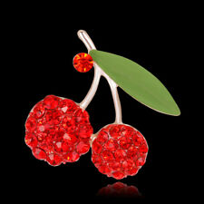 Fashion Jewelry Rhinestone Red Two Cherries Gold Plated Women Scarf Pin & Brooch