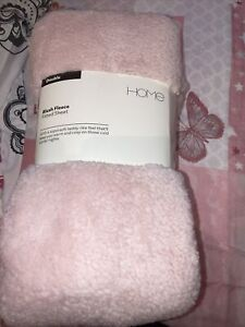 Argos Home Fitted Pink Teddy Fleece Sheet Double