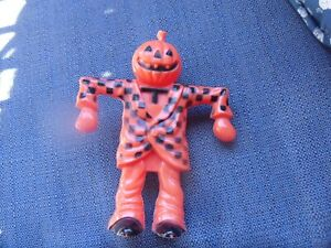 Vintage Rosbro Halloween Plastic Pumpkin Checkered Scarecrow Candy Container