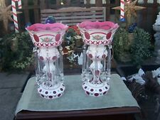 STUNNING PAIR ANTIQUE BOHEMIAN GLASS MANTLE LUSTERS  16 inches tall ~ VERY NICE