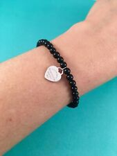 "Tiffany & Co Sterling Silver & Black Onyx Mini Heart Bead Bracelet 7"" Retired"