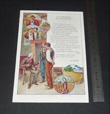 CHROMO 1900-1914 PNEUS BERGOUGNAN CLERMONT FABLES LA FONTAINE LABOUREUR ENFANTS