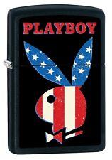 "ZIPPO ""PLAYBOY FLAG"" MATTE BLACK COLOR LIGHTER ** NEW in BOX **"