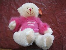 Fiesta Teddy Bear Plush toy Pink Shirt fuzzy Super MOM NWT New Tag Mothers day
