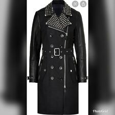 Burberry Studded Biker Black Leather Trench Coat