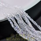 100pcs 3mm Cube Square Faceted Crystal Glass Loose Spacer Beads Clear AB