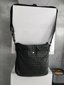 Bottega Veneta Mens Womens Black Leather Messenger Bag Crossbody Shoulder Unisex