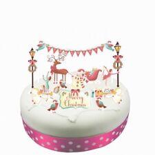 Whimsical escena de invierno Cake Topper Kit 16 Piezas-Trineo Ángel Robin Patinador Hielo