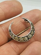 ANTIQUE FRENCH SILVER CRESCENT BROOCH WITH DIAMOND PASTE RARE COLLECTABLE 1890S