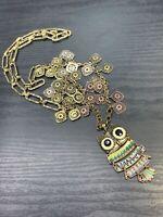 "Enamel Owl Spirit Animal Coin Charm Bohemian Pendant Necklace Fancy Chain 30"""