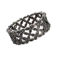 Hematite and Black Crystal Elasticated Ladies Bracelet Fashion Jewellery