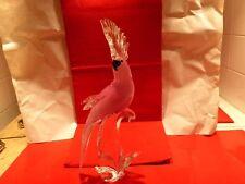 Pérroquet rose en verre de Murano année 60s70s haut 38 larg 16 prof 14 cm
