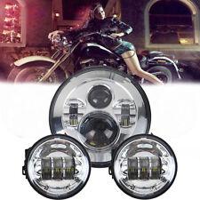 "7"" Cromo Proyector daymaker Hid Hi/Lo Led Faros+2x4.5"" Passing Lights For Harley"