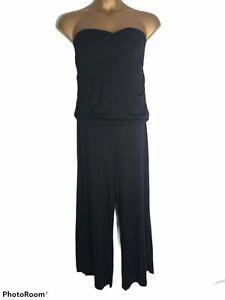 NEXT Black Bandeau Twist Front Jumpsuit Size 16 Blouson Top Wide Leg BNWT