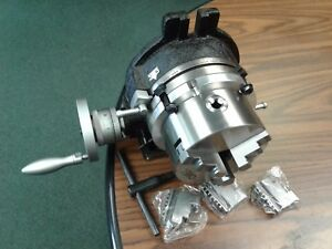 """6"""" HORIZONTAL & VERTICAL ROTARY TABLE w. adapter & 3-jaw chuck,#IN-TSL6-C5-new"""