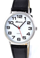 Ravel Mens Ladies BIG Numbers Watch Easy Read Clear Bold Dial  Long Black Strap