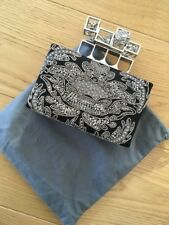 Brand New Alexander McQueen Black Poppy Cage Knuckle Box Clutch Box with dustbag