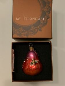 JAY STRONGWATER PEAR WITH BEE JEWELED CHRISTMAS ORNAMENT NIB
