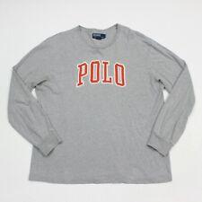 VTG 90s Polo Ralph Lauren Gray Letterman Longsleeve Spell Out T Shirt Mens Large