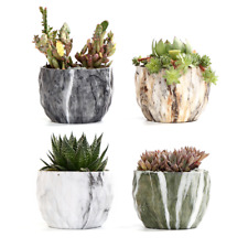 Set of 4 Colorful Marbling Succulent Pot Marble Flower Pot Ceramic Pot With Hole