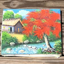 """Original Oil Painting Art Jungle Hut House By Stream Signed 10"""" X 8"""""""