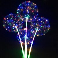 UK LED Light Up Bobo Balloon Transparent Wedding Birthday Xmas Party Decor Lamp