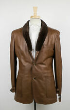 New D'AVENZA Brown Leather With Fur Lining Jacket Size 48/38 R $5995