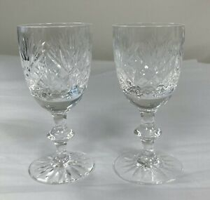 Edinburgh Crystal Iona Pattern Pair of Sherry Glasses Immaculate 11.5cm tall