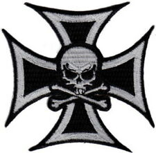 """Skull in Cross Embroidered Patches 3""""x3"""""""