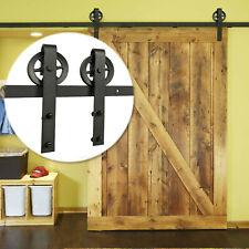 7.8 FT Steel Sliding Door Track Kit Barn Wood Closet Antique Hardware Roller Set