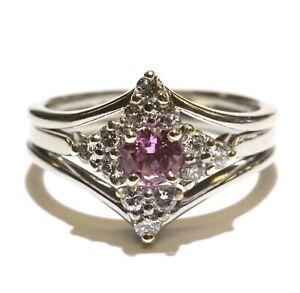 18k white gold .36ct diamond lab grown pink sapphire gemstone cluster ring 6g