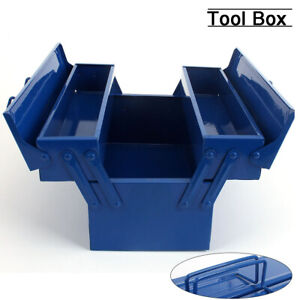Portable Empty Metal Toolbox Folding Double Layer Storage Box for Auto Repair