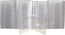 (100) CD2R10CL Double CD Jewel Box Case SLIMLINE 2 Disc Clear Tray Standard Size