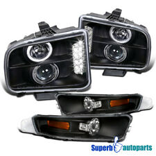 For 2005-2009 Ford Mustang LED Halo Black Projector Headlights Bumper Signal