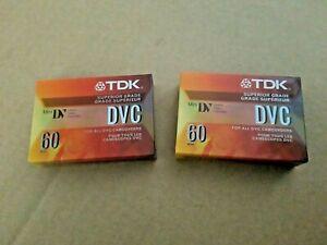 Lot of 2 SEALED TDK DVC 60 Mini DV SUPERIOR GRADE Video Camcorder Cassette Tapes
