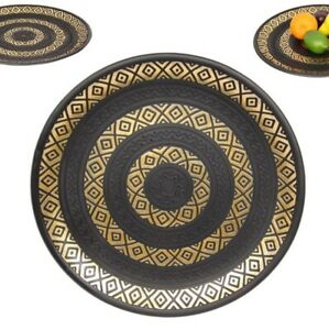36cm Moroccan Art Plate  Black and Gold