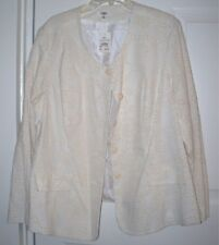 NEW Cato Woman Suit Jacket 22W Linen Blend Embroidery Ivory Cream Beige Lined