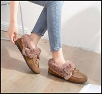 Hot Womens Winter Suede Fur Lined Warm Cotton Shoes Slip On Casual Flats Loafers