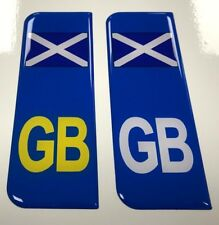 Domed Scotland Flag GB Vehicle Number Plate Stickers - 39mm HIGH GLOSS DOMED GEL