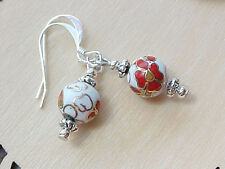 Cloisonne Earrings Red Cherry Blossom Geisha Asian Minimalist Gift Small Petite