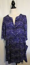 WITCHERY ~ Electric Blue Black White Geometric Print Fit & Flare Shift Dress 12