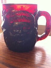 """Arcoroc Glass Ruby Red Embossed Santa Claus Holly  MUG 4"""" Tall"""